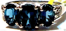 LONDON BLUE TOPAZ OVAL & DIAMOND THREE-STONE RING, 925 SILVER, SIZE 5, 2.01(TCW)
