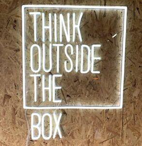 """THINK OUTSIDE THE BOX"" LED Neon Sign/Light/Lamp Custom Made Office Studio"