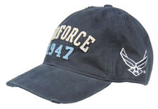 Vintage Looking Athletic Military Ball Cap Hat Navy Blue AIR FORCE