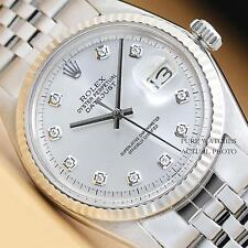 MENS ROLEX SILVER DIAMOND DIAL DATEJUST OYSTER PERPETUAL 18K WHITE GOLD/SS WATCH