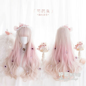 Harajuku Lolita Milk Gold Pink Gradient Full Wig Cosplay Daily Long Curly Hair