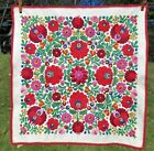 Vintage Crewel Embroidered Tapestry Cloth Wall Hanging Table Mat Frameable Reds