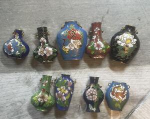 Cloisonne Vase Urn shaped Enamel Pendants Lot of 9