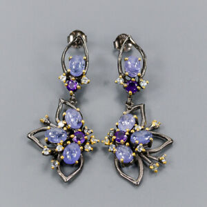 Tanzanite Earrings Silver 925 Sterling Set Jewelry Design  /E41471
