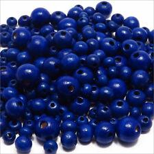 Lot de Perles en Bois Mélange Bleu tailles 6 - 8 - 10 - 12mm 270pcs