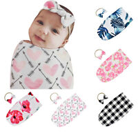 KQ_ BT_ 2Pcs Soft Floral Baby Swaddle Sleeping Bag Blanket Wrap Headband Outfit