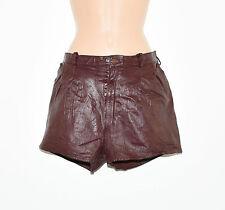 "Vintage Purple Leather BLUE RINSE High Waist Hot Pants Shorts Size W29"" L1"""