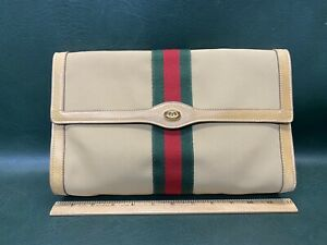 Authentic Vtg GUCCI Parfums Made in Italy 38 Flap Clutch Cosmetic Canvas Bag
