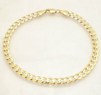 "8.5""  Mens Solid Curb Cuban Link Bracelet Real 10K Yellow Gold 5.7mm Great Gift"