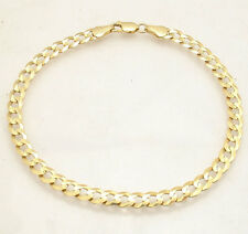 "8.5"" 5.5mm Mens Solid Curb Cuban Link Bracelet Real 10K Yellow Gold Great Gift"