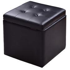 Storage Box Ottoman Square Seat Foot Stool Chair Lounge Cube Hinge Top Black