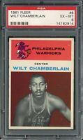 1961 Fleer Basketball Wilt Chamberlain ROOKIE RC Card # 8 PSA 6 EX - MINT