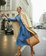 New H&M Blue Stripe Wrap Midi Dress Spring Summer Size 8 / 10  EUR 36 38