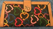 XOXO Hearts Black Trifold  Credit Card Wallet  Zipper Pocket Gently Used  EUC