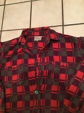 Vtg 50s 60s Champion Heavy Thick Cotton Lumber Checkerboard Plaid Flannel Sz. 15