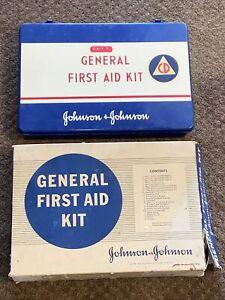 Vintage Johnson & Johnson 1960 First Aid Emergency Kit w/ Contents CIVIL DEFENSE