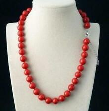 10mm Red Coral Gemstone Round Beads Necklace 18 inch