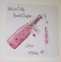 Personalised 18th Birthday Card Daughter Pink Champagne 21st 30th 40th 50th 60t