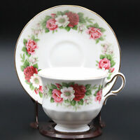 Lovely Vintage Bone China Queen Anne Tea Cup & Saucer Floral Theme - England