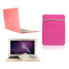 "4 in1 Rubberized PINK Case for Macbook Air 11""+Key Cover+LCD Screen+Sleeve Bag"