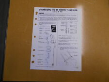 1980 HONDA HS35 Snow Blower Factory Assembly Setup Manual