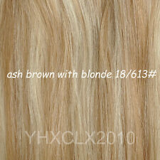 AAA Grade Clip in on Real Human Hair Extensions Full Head Black Brown Blonde Red