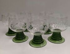 Schoot Zwiesel 6 Cordial Wine Glasses Green Base Etched Grapes Leaves Orig Box