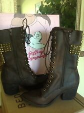 JEFFREY CAMPBELL HOLY Roller Brown Leather Womens Studded Cross Boot 8M MSRP$320
