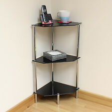 Hartleys 3 Tier Black Glass Angled Corner Side/End/Lamp Table Shelf/Display Unit