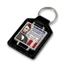 Gettysburg Address ABE ABRAHAM LINCOLN Faux Leather Keychain NEW
