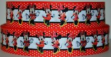 """Grosgrain Ribbon 7/8"""" & 1.5"""" Minnie Mouse Dancing With Bow Printed. Ref5"""