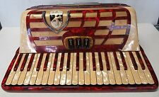 Capri Accordion Made In Italy Keyboard Pearlized Red & White Vintage with Case