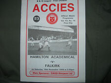 HAMILTON ACADEMICAL VS FALKIRK MATCH PROGRAMME 18.11.1989. V.GOOD COND.