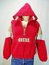 Vintage STARTER NFL SF 49ers Red Large Hood Pullover Insulated Nylon Pockets