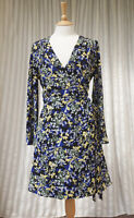 "M&S ""Collection"" Dress Size UK 10 EU 38 Floral Blue Yellow Black Wrap"