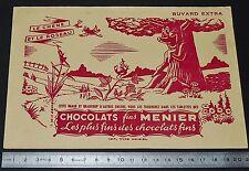 BUVARD 1950 CHOCOLATS FINS MENIER FABLES DE LA FONTAINE CHENE ET ROSEAU JAUNE