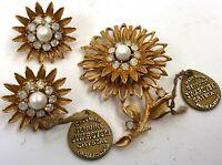 Vintage Genuine Swarovski Crystal Gold Tone Chrysanthemum Clip Earrings & Brooch