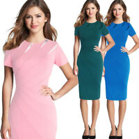 Women's Pencil Work Wear Dress Bodycon Stretch OL Formal Party Office Lady Dress