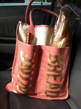 RARE Rebecca Minkoff Bread Wine Tote Bag Picnic Leather Canvas Pink Collectible