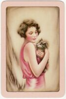 Playing Cards 1 Single Swap Card - Old Vintage GIRL LADY + Fluffy KITTEN CAT
