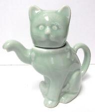 Vintage * Celadon Glaze Kitty Cat Teapot (Welcome Porcelain Statue)  c. 1970's