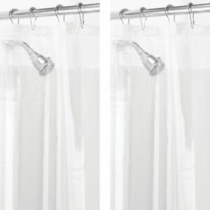 "mDesign Wide PEVA Shower Curtain Liner for Bath, 72"" x 84"", 2 Pack - Clear"