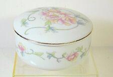 Andrea By Sadek Porcelain Trinket Box Pink Floral Gold Trim Design Japan