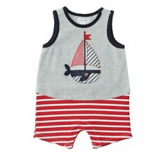 NWT Mud Pie Sail Boat Whale Baby Boys Striped Romper Jumpsuit Shortall