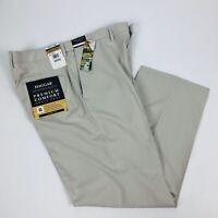 HAGGAR Men's Premium Comfort Dress Pants W36 x L29 Classic Fit Stone Color Flat