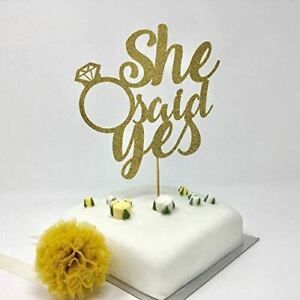 She said yes cake topper. Engagement party, hen party, diamond ring cake topper