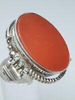 Russischer Design Ring 875 Silber Hammer & Sichel punz.Karneol & Diamanten RG 58
