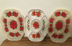 Set of 3 Vintage 70s Christmas Divided Party Snack Serving Trays Hard Plastic