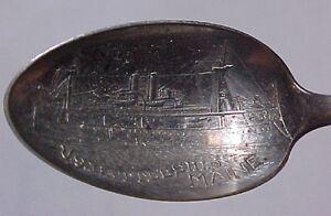 "US Battleship Maine Souvenir Spoon - ""COMP OLD GRIST MILL""  1898"