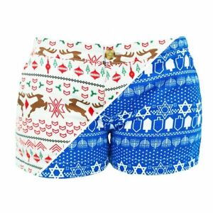CHUBBIES NWT Ms. Chrismukkah Holiday Christmas Hanukkah Reversible Shorts Sz 4